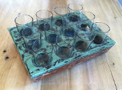 Recycled Metal/Wood Beer or Wine Serving Tray w/12 Glasses